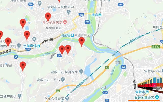 真備地区の地図