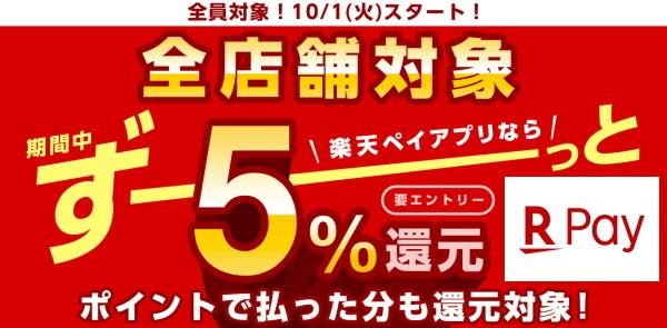 10月以降は「楽天ペイと楽天カード」で「最大6%還元」