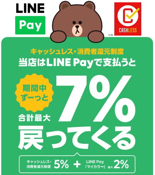 LINE Payはその場で「5%還元」と「最大7%還元」!