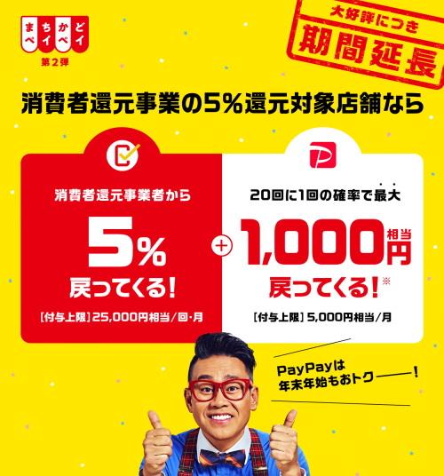 12月からのPayPayは5%還元に加え、最大1,000円か1.5%利用特典還元!