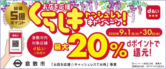 倉敷市が9月中「d払い」で「最大20%還元」のキャッシュレスキャンペーンを開催!